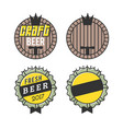 line art badge craft beer logo vintage label for vector image