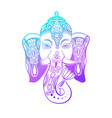 lord ganesha head with lotus drawing - indian vector image vector image