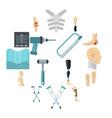 orthopedics prosthetics icons set in flat style vector image vector image