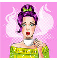 pop art girl with cup hot coffee vector image vector image