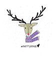 poster with hand drawn funny deer vector image vector image