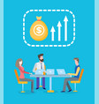 profit growth business workers team with laptop vector image vector image