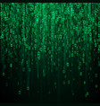random binary numbers matrix background in green vector image vector image