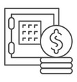 safe box and money thin line icon bank safe and vector image