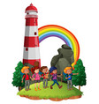 scene with people hiking lighthouse vector image vector image