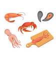 seafood set flat vector image vector image