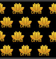 seamless pattern lotus gold icons and text vector image