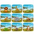 set of different animals in scenes vector image vector image