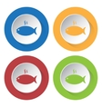 set of four icons - grilling fish with smoke vector image vector image