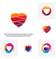 set of love heart creative logo concepts abstract vector image vector image