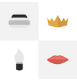set of simple fashion icons elements crown jar vector image vector image