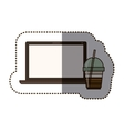 silhouette sticker color with glass of cappuccino vector image vector image