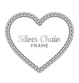 silver chain heart love border frame vector image