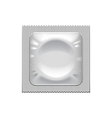 Silver condom packaging isolated on white vector image vector image