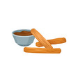 sweet homemade churros with chocolate dipping vector image vector image