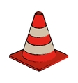 traffic cone warning sign design drawing vector image vector image