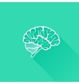 vintage of human brain with long shadow vector image