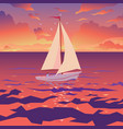 white boat with sail and red flag sunset on vector image vector image