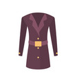 women coat with belt outer garment extend to hips vector image