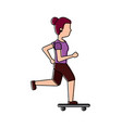 young woman with skateboard sport lifestyle vector image vector image