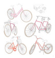 colorful hand drawn bicycles set vector image