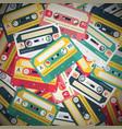 audio cassettes retro music background vector image