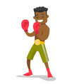 black boxer training in boxing gloves vector image