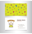 business card template with cute bashop vector image