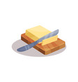 butter and knife on a plate baking ingredient vector image vector image
