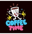 cartoon coffee cup character vector image vector image