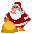 cartoon surprised Santa Claus with a bag of gifts vector image vector image