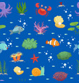 cartoon underwater creatures and seaweed vector image