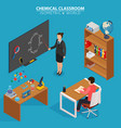 chemical classroom school education isometric vector image vector image