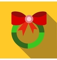 Christmas wreath with red bow icon flat style vector image