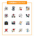 coronavirus awareness icons 16 flat color filled vector image vector image