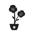 cute flower on a pot silhouette vector image vector image