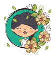 cute girl character with floral frame vector image