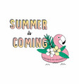 cute of inflatable flamingo for sea vector image