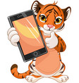 cute tiger holding tablet vector image vector image