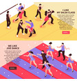 dance isometric people banners vector image vector image