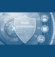 data protection abstract background with shield vector image