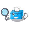 detective cartoon tissue box in the restaurant vector image vector image