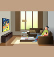 father and son watching television at home spend vector image vector image