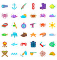 fish icons set cartoon style vector image vector image