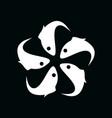 five fish logo template with geometric kamon vector image