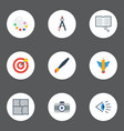flat icons eye brush arrow and other vector image vector image