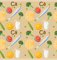 food rich in calcium seamless pattern vector image