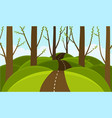 forest on background hills spring blooming vector image