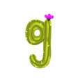 g letter in the form of cactus with blooming vector image vector image