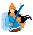 Girl with skis vector image vector image